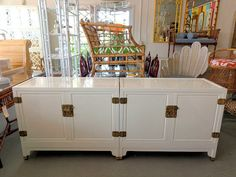 Ming Style Cabinets - Pair of MING Style Cabinets in nice as found VINTAGE condition. There are minor imperfections to the NEWLY lacquered finish. Patina to the original hardware. Benjamin Moore Collector's Item White