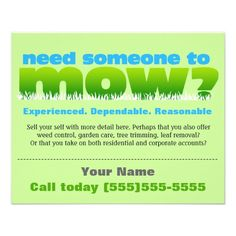 lawn care mow grass landscaper small flyer