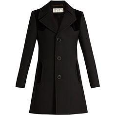 Saint Laurent Velvet-panelled wool and silk-blend coat (43,175 HNL) ❤ liked on Polyvore featuring outerwear, coats, black, slim coat, yves saint laurent, woolen coat, slim fit coat and velvet coat