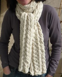 lolotricotes cable scarf, Last Minute: Waves of Grace Scarf by Armida Joy. malabrigo Worsted, Natural color.