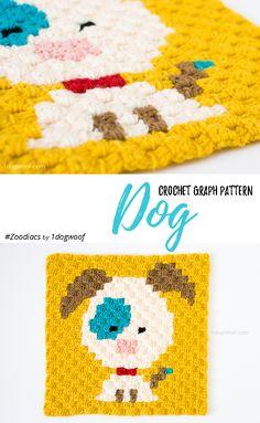 Free crochet pattern: Zoodiacs dog in c2c (corner to corner) crochet by One Dog Woof