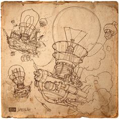 Pencil illustration of Steampunk Lightbuild-Airship by @jamesngart #Steampunk #Airship