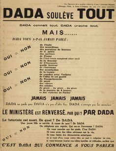 Dada. Affiche du manifeste, 1918