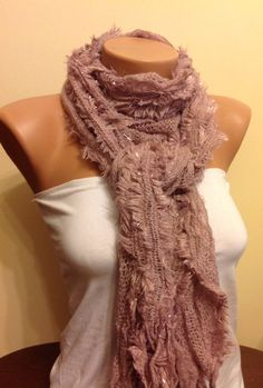 A personal favorite from my Etsy shop https://www.etsy.com/listing/179758429/salesoft-pink-fringed-scarf-knitted