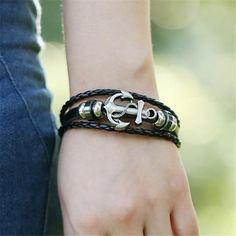 Black Faux Leather Braid Anchor Bracelet