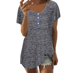 fa211312b20925 Dacawin Women Short Sleeve Loose Casual Button Blouse T Shirt Tank Tops  (Dark Gray,