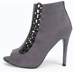Boohoo Eleanor Peeptoe Lace Up Insert Shoe Boots ($28) ❤ liked on Polyvore featuring shoes, boots, ankle booties, grey, high heel booties, lace up platform booties, platform wedge booties, gray booties and lace up booties