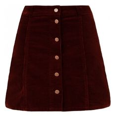 Burgundy Corduroy Button Front A-Line Skirt (£16) ❤ liked on Polyvore featuring skirts, bottoms, burgundy skirt, red mini skirt, red corduroy skirt, mini skirt and burgundy mini skirt
