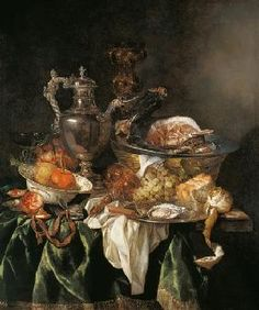 van Beyeren Abraham - Still Life with a Silver Wine Jar with a Reflected Portrait of the Artist