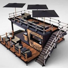 Details about Shipping Container Kiosk Cafe Coffee 160 sq. Container Bar, Container Home Designs, Shipping Container Restaurant, Container Coffee Shop, Container House Plans, Shipping Container Homes, Container Houses, Shipping Containers, Shipping Container Workshop