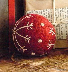 Trim a tree or adorn a mantle top with our delightful Felt Snowflake Ball Ornaments. Handmade from boiled wool felt and available in red or gray with cream embroidered details. Set includes one each o