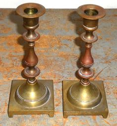 Vintage Candle Holders Brass Copper Candlesticks by TheBackShak,