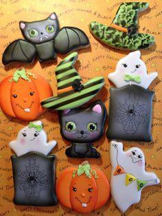 Halloween Biscuits, Halloween Cookie Recipes, Halloween Cookies Decorated, Halloween Sugar Cookies, Halloween Snacks, Halloween Cupcakes, Easy Halloween, Decorated Cookies, Fall Cookies