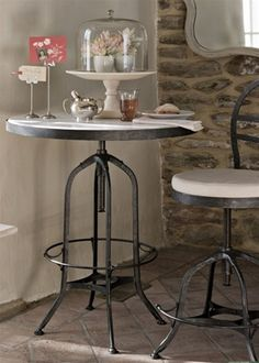 French Bistro Marble Top Table