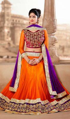 Deep Orange Net A Line Lehenga Choli Price: Usa Dollar $118, British UK Pound £69, Euro87, Canada CA$126 , Indian Rs6372.