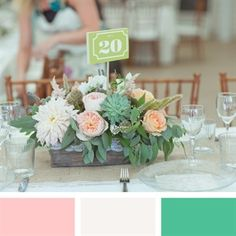 Light Pink, White and Green Color Palette Inspired by nature is all over wedding trends for 2014.