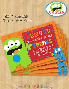 """Little Monster Birthday Thank you card 6x4"""" - DIGITAL files only -PERSONALIZED Print yourself on Etsy, $8.50"""