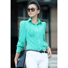 $10.55 Ladylike Puff Sleeves Ruche Pockets Crepe Shirt For Women