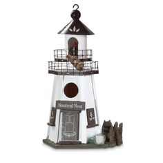 "Features:  Animal Type: -Bird.  Birdhouse Design: -Hanging.  Birdhouse Style: -Coastal.  Color: -White; Brown.  Material: -Wood. Dimensions:  Overall Height - Top to Bottom: -12.25"".  Overall Width -"