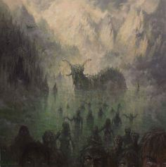 Space, Gore And Dinosaurs Cthulhu, Dark Fantasy, Fantasy Art, Pagan Art, Goth Art, Fantasy Dragon, Landscape Illustration, Video Game Art, Horror Art