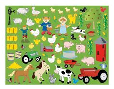SALE - 12 Farm Sticker Scenes for Kids Crafts