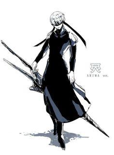 oggaiーarima Ver.  Kinda looks like 9S from Nier Automata in Tokyo Ghoul