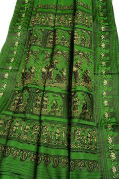 Baluchari silk handloom sari grass green with black and gold Baluchari cotton saree [balusgrassblagold] - $232.00 : Sarishop, Online Saree S...