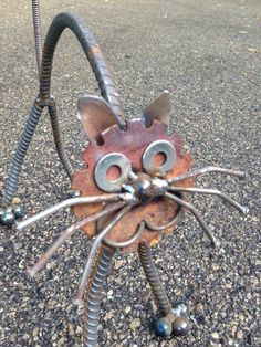 Gato reciclado arte jardín por nbillmeyer en Etsy
