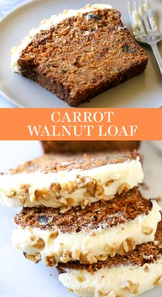 Carrot Cake in LOAF FORM! This Carrot Walnut Bread with Cream Cheese frosting is moist, tender, and easy to make. The best spring or Easter recipe for a crowd! #carrotcake #carrotbread #loaf #creamcheesefrosting