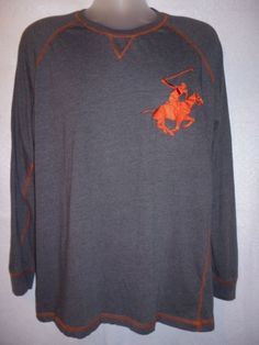 BEVERLY HILLS POLO CLUB Tee Shirt Top Grey Orange Threads Huge Polo Pony Logo L #BeverlyHillsPoloClub #LongSleeve