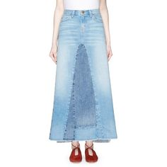 current/elliott 'The Reconstructed' denim maxi skirt (18.910 RUB) ❤ liked on Polyvore featuring skirts, blue, summer maxi skirts, maxi skirt, summer skirts, long bohemian skirts and long summer skirts