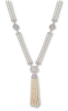 ART DECO NATURAL SEED PEARL AND DIAMOND SAUTOIR NECKLACE, J.E. CALDWELL, CIRCA 1920 - Sotheby's