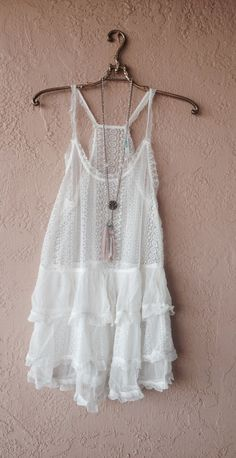 Image of Bohemian bride Kimchi Blue Boho Gypsy  vintage slip with lace and crochet