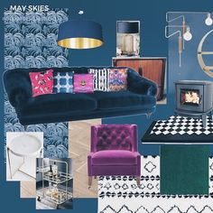 Dramatic mood board for a May Skies Studio project - a living room in an Edwardian house Leeds, with dark blue velvet sofa, dark blue walls & botanical wallpaper, pink velvet chair & bright cushions. Modern & traditional lighting choices with black & white rug & fire surround.