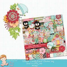 Free Digital Scrapbook Kits: Winter Candy Land Digital Scrp Kit (Cluster Tag Free)