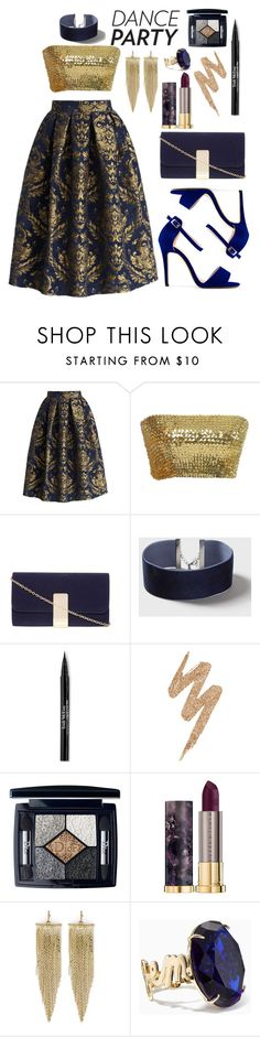 """""""Little party never killed nobody"""" by kimir-and ❤ liked on Polyvore featuring Chicwish, Dorothy Perkins, Topshop, Trish McEvoy, Urban Decay, Christian Dior, Kenneth Jay Lane, Kate Spade, gold and dance"""