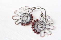 Unusual Garnet Earrings wire wrapped asymmetric by CookOnStrike, $36.00