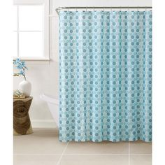 Bath Bliss PEVA Hexagon Design Shower Curtain Set