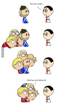 Part of the Gang-Scotland has talked about wanting to become a Nordic country, so the Nordics can be a bit protective of him.-Scandinavia and the World<<<Wait, they have? That would be amazing! Funny Cute, The Funny, Hilarious, Hetalia, Satw Comic, 4 Panel Life, Funny Memes, Jokes, Funny Comics