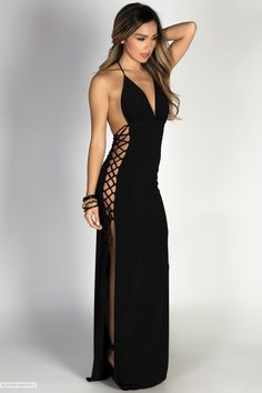 Halter Neckline Long Black Maxi Dress with Lace Up Side Cut Outs