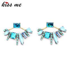 Kiss me 2016 새로운 복고풍 분리 fanned 스터드 귀걸이 패션 보석 뜨거운 판매 크리스탈 귀걸이