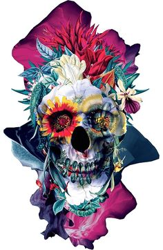 Floral Skull Blue by RIZA PEKER