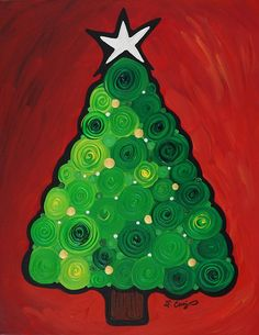 Christmas Tree Twinkle Green Red Silver Gold Abstract Painting Art Gifts Holiday Idea Gift Canvas Ready To Hang Christmas Paintings On Canvas, Christmas Canvas, Noel Christmas, Winter Christmas, Christmas Ornaments, Green Christmas, Tree Paintings, Magical Christmas, Canvas Paintings