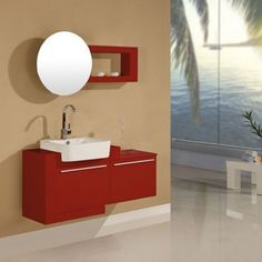 SD835RC Meuble salle de bain rouge cerise