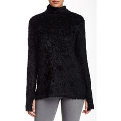 525 America Fuzzy Sweater ($40) ❤ liked on Polyvore featuring tops, sweaters, black, black turtleneck sweater, black long sleeve top, 525 america sweater, turtle neck sweater and turtle neck tops