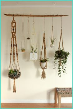 Hydroponic Gardening Ideas Hanging plants - Macrame is about knots in several patterns. Macrame is a simple art form to acquire the hang of. One specific macrame finds an owl made from twine springs to mind. Make sure to knot your yarn on th… Indoor Garden, Indoor Plants, Air Plants, Wall Of Plants, Cactus Plants, Porch Plants, Indoor Cactus, Driftwood Planters, Diy Hanging Planter