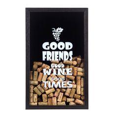 Quadro Porta-Rolhas Good Friends Wine (Pequeno) | Fábrica9