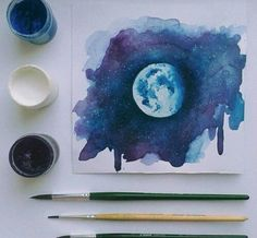 Image result for how to paint moon watercolor