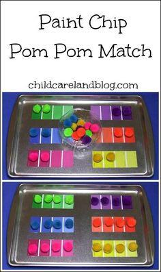 childcareland blog: Paint Chip Pom Pom Match