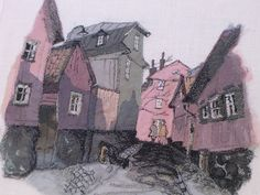 """""""Neighborhood"""" Layers of thin fabric and stitching achieve this look of a painting."""